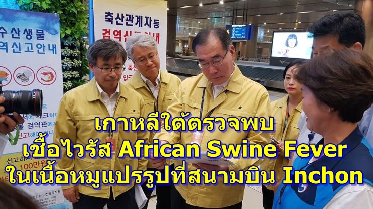 เกาหลีใต้ตรวจพบ เชื้อไวรัส African Swine Fever ในเนื้อหมูแปรรูปที่สนามบิน Inchon